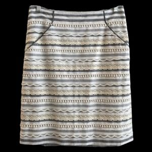 Tabitha Anthropologie Sailing Lace Stripe Skirt
